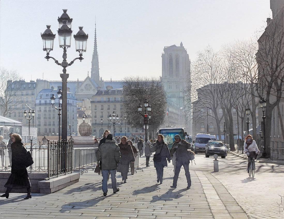 Hiver ensoleill sur la place de l'h tel de ville de Paris, ?