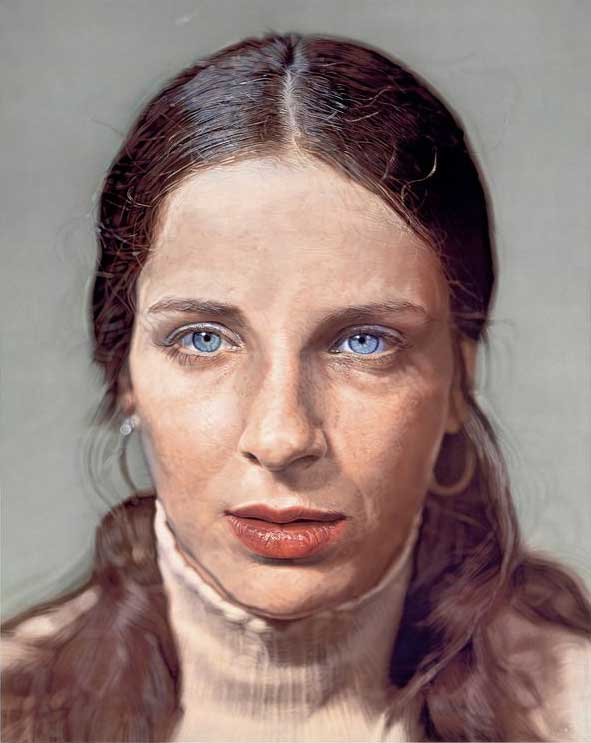 Chuck-Close---Leslie_watercolor-on-paper-mounted-on-canvas_1972-1973