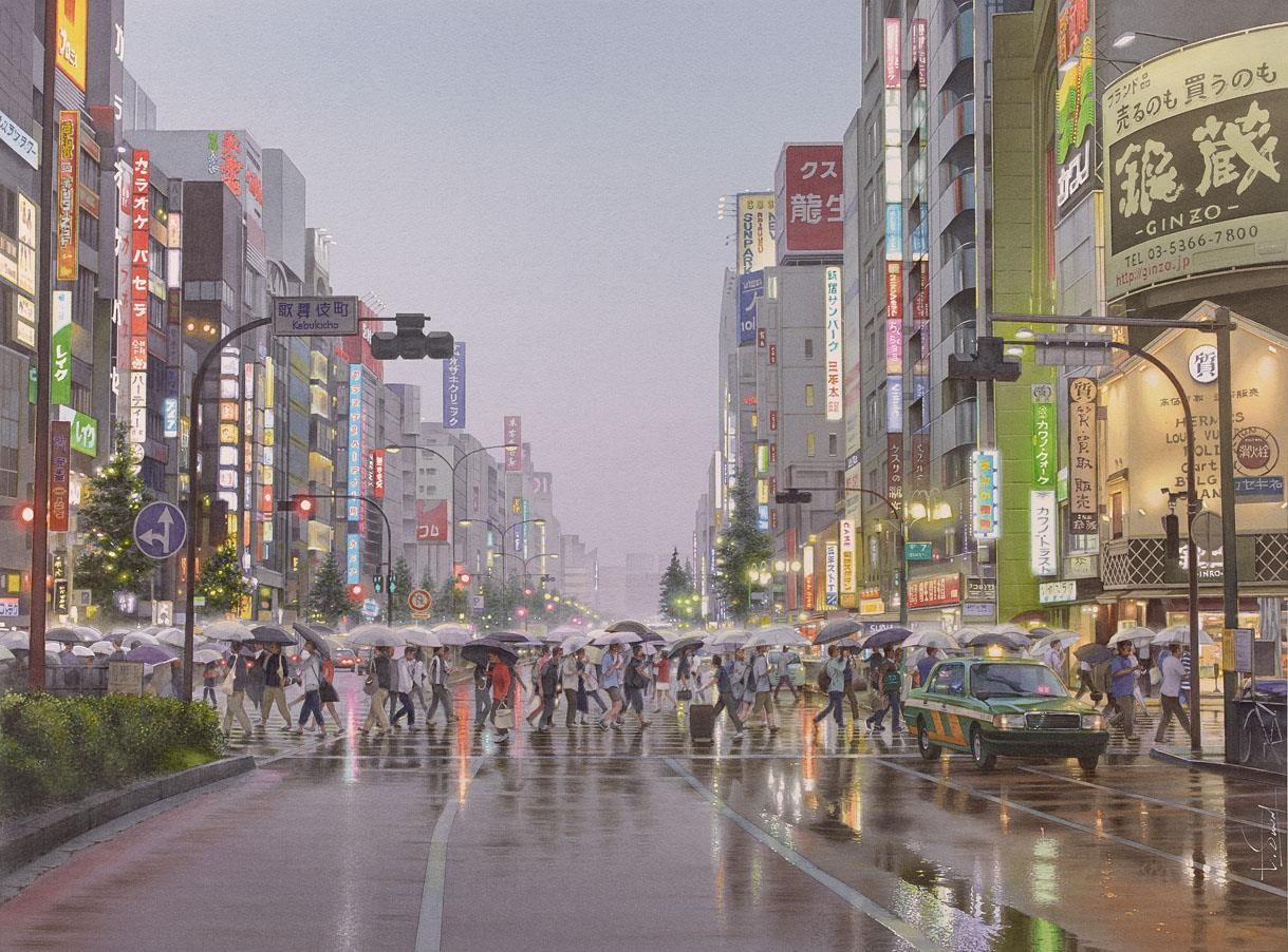 L'homme la valise dans la mousson de Tokyo, ?